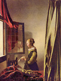 Girls at the Open Window Poster by Jan Vermeer