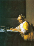 Woman in Yellow Posters by Jan Vermeer