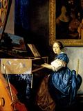Dame on Spinet Prints by Jan Vermeer