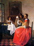 Girl with a Wine Glass Art by Jan Vermeer