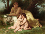 Young Woman Contemplating Two Embracing Children Art by William Adolphe Bouguereau