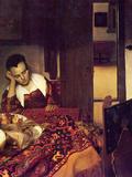 A Woman Asleep Poster by Jan Vermeer