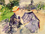 Lady with a Parasol Sitting in a Park Print by Berthe Morisot