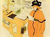Jane Avril Checking a Print Sample Lámina por Henri de Toulouse-Lautrec