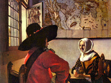 Soldier and Girl Smiling Posters by Jan Vermeer