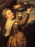 Girl with a Basket of Fruits (Lavinia), 1555 Art by  Titian