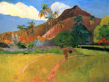 Mountains in Tahiti Prints by Paul Gauguin