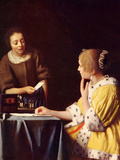 Mistress and Maid Prints by Jan Vermeer