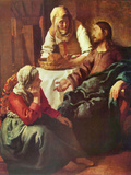 Christ with Mary and Martha Print by Jan Vermeer