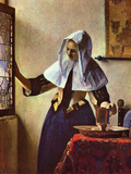 Young Woman with a Water Jug at the Window Prints by Jan Vermeer