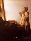 The Pearl Necklace Poster by Jan Vermeer