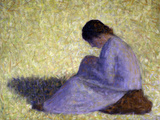 Peasant Woman Seated in the Grass Prints by Georges Seurat