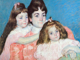 Madame A.F. Aude with Her Two Daughters Poster by Mary Cassatt