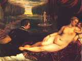 Venus with Cupid Posters by  Titian