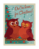 Owl Be Home for Christmas Art Print by  Anderson Design Group