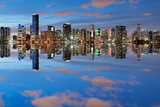 Miami Skyline Seen from Key Biscayne at Dusk with Beautiful Reflections Photographic Print by  badboo