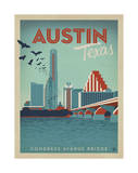 Congress Avenue Bridge, Austin, Texas Poster by  Anderson Design Group