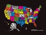 The United States of Nicknames Serigraph by Mike Klay