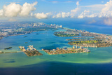 Aerial of Coastline Miami Photographic Print by Jorg Hackemann