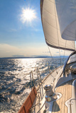 Yacht Sailing towards Sunset on Blue Sea Photographic Print by  Zechal