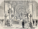 Antique Illustrtation of Tropical Garden at Hotel De Ville Interior, Paris. Original, from Drawing Photographic Print by  marzolino