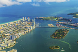 Aerial of Town and Beach of Miami Photographic Print by Jorg Hackemann