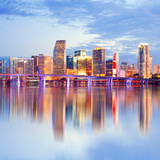 City of Miami Florida Night Skyline Photographic Print by  Fotomak