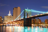 New York City Manhattan Skyline and Brooklyn Bridge at Dusk over Hudson River with Skyscrapers Posters by Songquan Deng