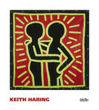 Untitled, 1982 (couple in black, red, and green) Posters by Keith Haring