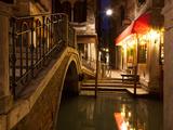 Narrow Canal in Venice at Night, Italy.  Ponte Dei Ferai Poster by  A_nella
