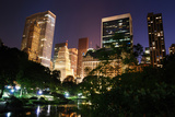 New York City Central Park at Night with Manhattan Skyscrapers Lit with Light. Prints by Songquan Deng