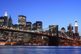 Brooklyn Bridge and Manhattan Skyline at Night, New York City Posters by  Zigi