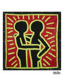 Untitled, 1982 (couple in black, red, and green) Prints by Keith Haring