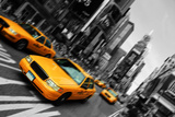 New York City Taxi, Blur Focus Motion, times Square Photographic Print by  upthebanner