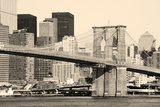 Old Fation Style New York City Brooklyn Bridge in Manhattan Closeup with Skyscrapers and City Skyli Prints by Songquan Deng