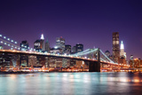 New York City Brooklyn Bridge and Manhattan Skyline with Skyscrapers over Hudson River Illuminated Prints by Songquan Deng
