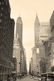 New York City Manhattan Street View with Chrysler Building Skyscrapers and Busy Traffic Black and W Posters by Songquan Deng