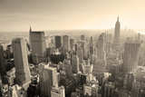 New York City Skyline Black and White in Midtown Manhattan Aerial Panorama View in the Day. Print by Songquan Deng
