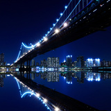 New York City Skyline and Manhattan Bridge at Night Photographic Print by  Zigi