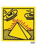 Keith Haring - Untitled, 1984 (pyramid with UFOs) - Reprodüksiyon