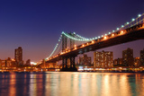 New York City Manhattan Bridge over Hudson River with Skyline after Sunset Night View Illuminated W Posters by Songquan Deng