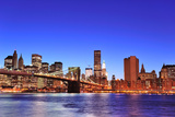Brooklyn Bridge with New York City Manhattan Downtown Skyline at Dusk Illuminated over East River W Prints by Songquan Deng