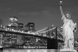 Brooklyn Bridge and the Statue of Liberty at Night, New York City Prints by  Zigi