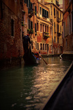 View of Gondola with Gondolier at Narrow Street of City. Venice Photographic Print by  PH.OK