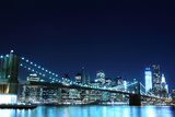 Brooklyn Bridge and Manhattan Skyline at Night, New York City Print by  Zigi