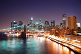 New York City Manhattan Skyline and Brooklyn Bridge with Skyscrapers over Hudson River Illuminated Prints by Songquan Deng