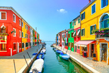Venice Landmark, Burano Island Canal, Colorful Houses and Boats, Italy Photographic Print by  stevanzz