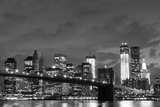 Brooklyn Bridge and Manhattan Skyline at Night, New York City Photographic Print by  Zigi