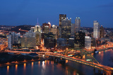 Pittsburgh's Skyline from Mount Washington at Night. Photographic Print by  Zigi