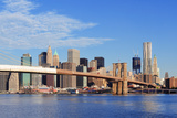 Brooklyn Bridge with Lower Manhattan Skyline Panorama in the Morning with  Cloud and Blue Sky over Prints by Songquan Deng